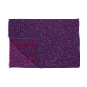 Calabrese 1924 Sciarpa in lana con fondo bordeaux motivo ramage e paisley blu e azzurro