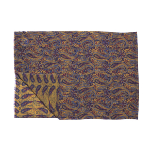 Calabrese 1924 Sciarpa in lana con fondo giallo motivo ramage e paisley blu bordeaux e azzurro