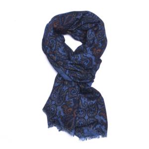 Calabrese 1924 Sciarpa in lana con fondo azzurro motivo ramage blu e arancio