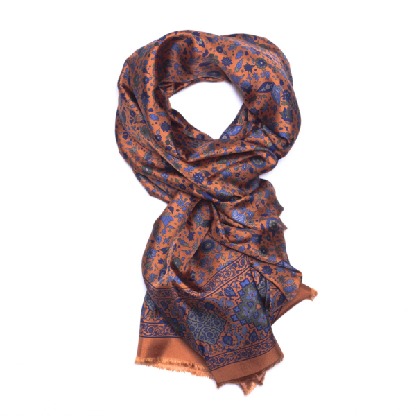 Calabrese 1924 Sciarpa in seta con fondo arancio motivo floreale blu e royal