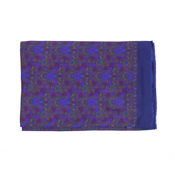 Calabrese 1924 Sciarpa in seta con fondo blu motivo ramage verde viola royal e bordeaux